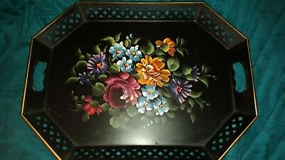 "Vintage Nashco Hand Painted Metal Serving Tray Black Gold Trim 20"" x 15"""