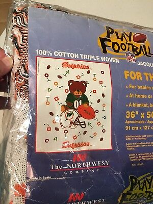 Nwt Vintage Miami Dolphins Baby Triple Woven Jacquard Blanket With Bear