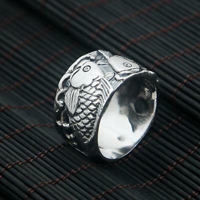 viking Odin 's Symbol of Norse Real 925 Sterling Silver Double Fish Ring