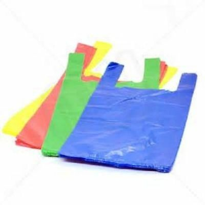 """Plastic Vest Style Strong Carrier Bags  Supermarket Jumbo Size  11"""" x 17"""" x 21"""""""