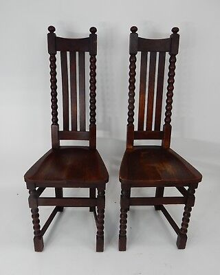 Pair of Antique Mission Arts and Crafts Signed Limbert Accent Chairs 46 inches.
