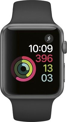 New Apple Watch 2 Series 1 42Mm Space Gray Aluminum Case Black Sport Band