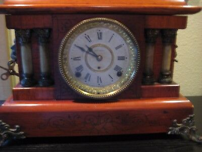 Antique Seth Thomas Adamantine Faux Marble Mantle Clock - Red