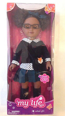 "My Life As 18"" African American School Girl Doll With Green Skirt New In Box"