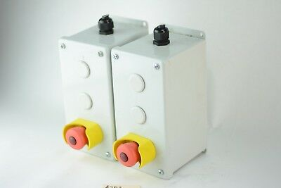 LOT 2x Emergency Stop Push button Enclosures with ALLEN BRADLEY Contact Blocks