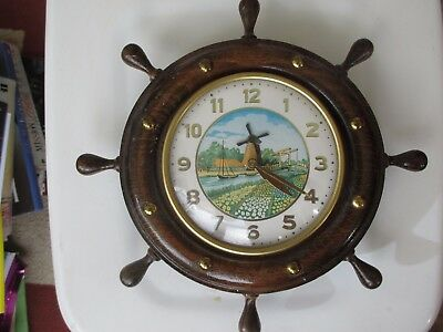 Marine classic clock with oak surround and brass studs