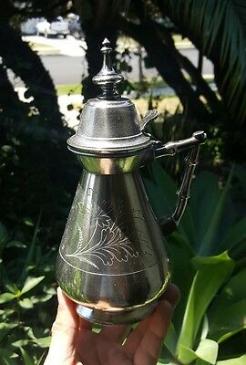 Antique Meriden Silverplate Syrup Pitcher/Jug No. 184 Pat 1865 8.25in Tall USA