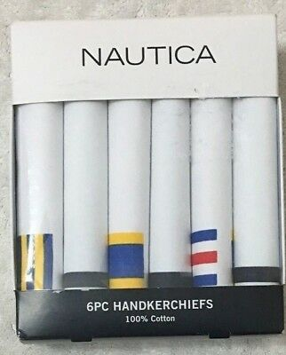 Nautica  6-Men's Pure 100% Cotton Handkerchiefs White with Designs   (2339)