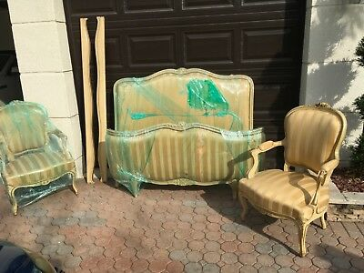 French Antique Louis XV Solid Painted Upholstered Full Size Bed & chairs