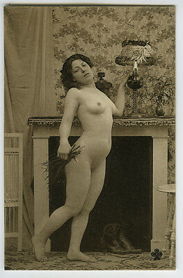 c 1910 Sexy Long Hair YOUNG BEAUTY French Rotogravure nude photo postcard