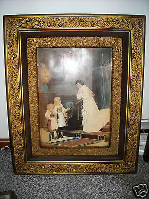 Antique gesso ornate PICTURE FRAME w/ victorian print children large