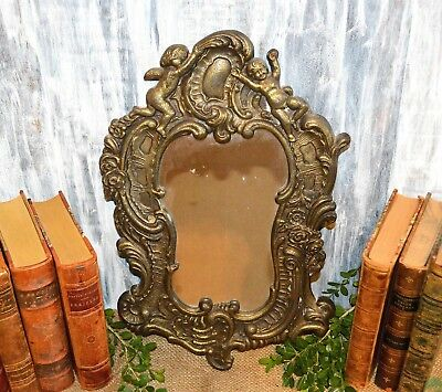 Antique Large German Heavy Brass Wall Mount Cherubs Floral Mirror