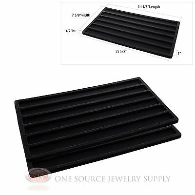 2 Insert Tray Liners Black  W/ 6 Slot Each Drawer Organizer Jewelry Displays