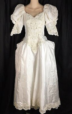 Vtg 80s White Wedding Dress Puffy Sleeve Roses Bustle Convert Train Fits S Small