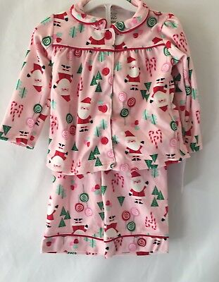9058b9fd52 Just One You Carter s Girls Toddler Pink Flannel Christmas Santa Pajamas 18M