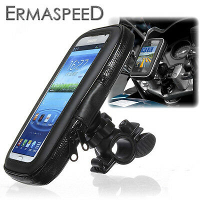 Waterproof Motorcycle Phone Holder Zipper Pocket Handlebar Bracket Mount Pouch S