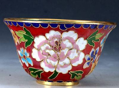 Chinese Cloisonne Porcelain Hand-painted Flower Bowl