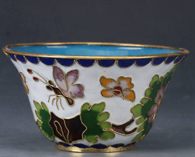 Chinese Cloisonne Hand-painted Flower & Butterfly Bowl AA