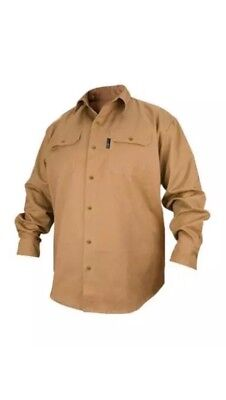 Black Stallion  FS7-KHK 7oz Khaki FR Cotton Long Sleeve Work Shirt (Large)
