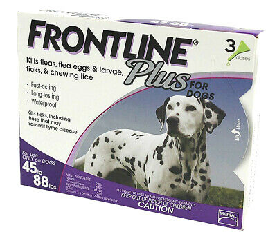 (Open Box) New Frontline Plus for Large Dogs 45-88 Lbs 3 Doses (3 Month Supply)