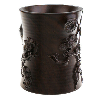 Hand-carved Pen Pencil Vase Holder Calligraphy Writing Brush Pot Container