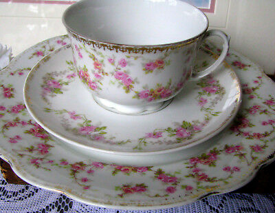 M Z Altrohlau CMR Bridal Rose Teacup Trio - Teacup and Saucer and Luncheon Plate