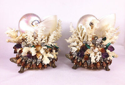 Real Nautilus Shells Coral Rock Crystals Accents on Turtles Pair of Sculptures