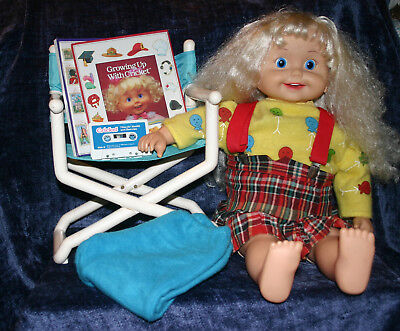 Cricket Playmates Talking Doll 1986 Chair Pants Skirt Sweater Books Tape