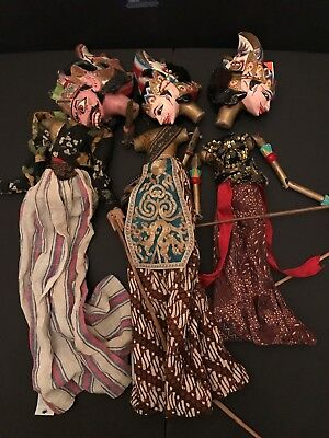 "Three VINTAGE elaborately styled 20"" Handmade Thai Rod Puppet"