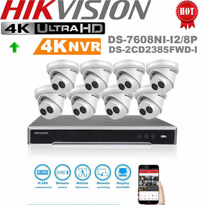 HIKVISION 4K 8MP 8-CH 8 PoE Home & Outdoor Security Turret IP Camera CCTV System