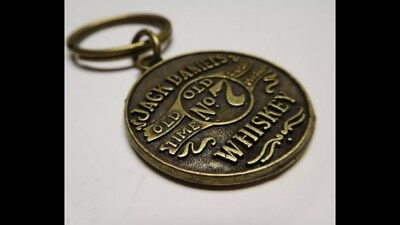Vintage Brass Jack Daniels Old No 7 Whiskey Keychain Ring