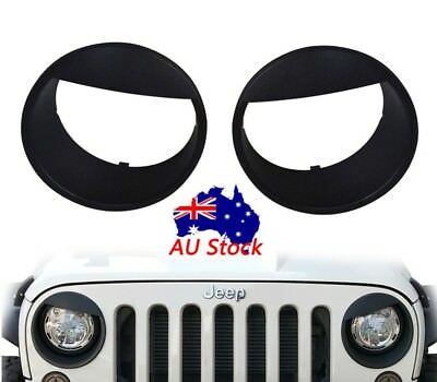 Pair Black Front Headlight Angry Eyes Trim Cover for Jeep Wrangler JK 2007-2018