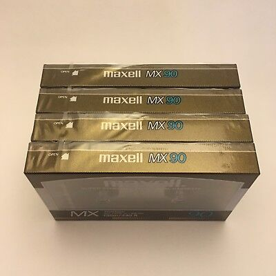 Lot of 4 New Maxell MX 90 Metal Cassettes Tapes Made in Japan Sealed