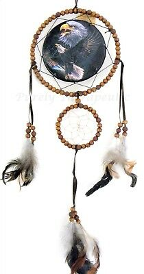 EAGLE BEADED DREAM CATCHER Natural Feathers~Wall Hanging Ornament Indian 60cm