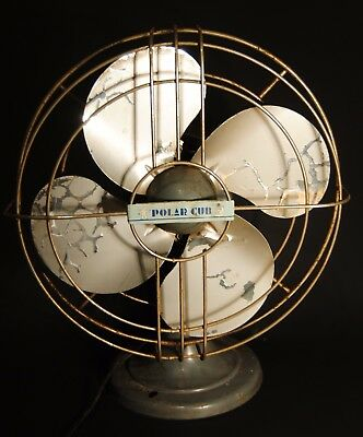 Vintage AC Gilbert Polar Cub 1 speed oscillating electric fan