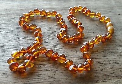 GENUINE BALTIC AMBER ADULT NECKLACE 50cm - COGNAC - Jewellery Beads + FREE POST