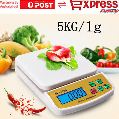 5kg/1g Kitchen Scale Digital Postal LCD Electronic Weight Scales Food Shop AU