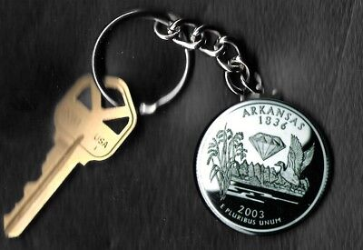 State of ARKANSAS Quarter Keychain Key Chain Image is 60% larger than quarter