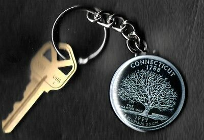 State of CONNECTICUTT Quarter Keychain Key Chain Image is 60% larger than quarte