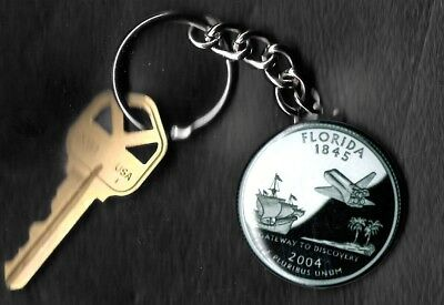 State of FLORIDA Quarter Keychain Key Chain Image is 60% larger than quarter