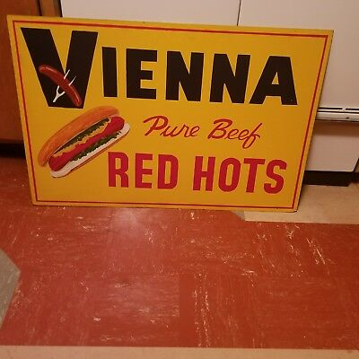 Vintage Hot Dog Sign Vienna Pure Beef Red Hots Original Hand Painted Advertising