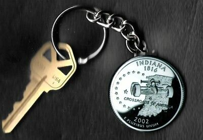 State of INDIANA Quarter Keychain Key Chain Image is 60% larger than quarter