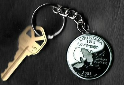 State of LOUISIANA Quarter Keychain Key Chain Image is 60% larger than quarter