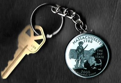 State of MASSACHUSETTS Quarter Keychain Key Chain Image is 60% larger than quart
