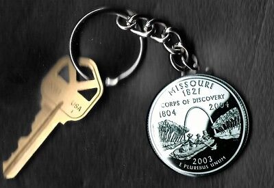 State of MISSOURI Quarter Keychain Key Chain Image is 60% larger than quarter