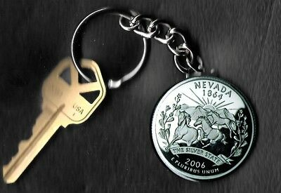 State of NEVADA Quarter Keychain Key Chain Image is 60% larger than quarter