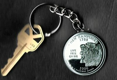 State of NEW HAMPSHIRE Quarter Keychain Key Chain Image is 60% larger than quart