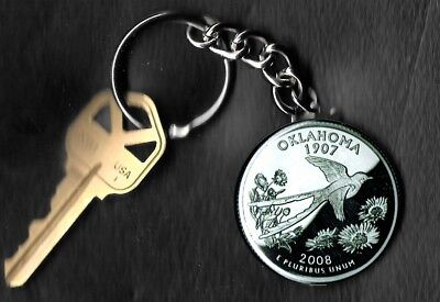 State of OKLAHOMA Quarter Keychain Key Chain Image is 60% larger than quarter