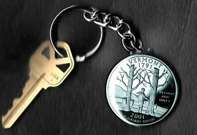 State of VERMONT Quarter Keychain Key Chain Image is 60% larger than quarter