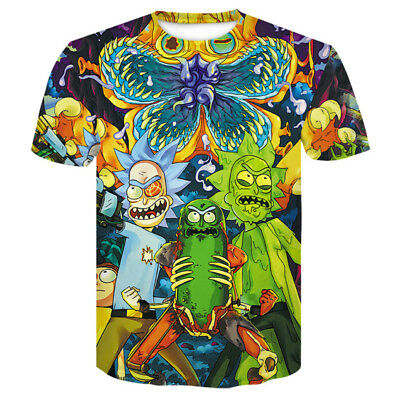 Womens/Mens Rick and Morty Funny 3D Print Casual T-Shirt Short Sleeve Tops Tee